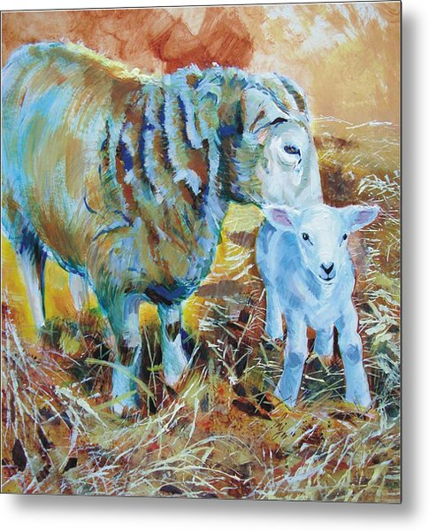 Sheep And Lamb Metal Print