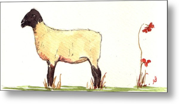 Sheep Black White Metal Print