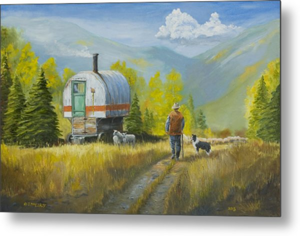 Sheep Camp Metal Print