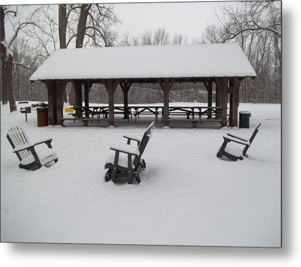 Shelter House Snow Metal Print