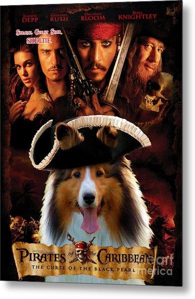 Sheltie - Shetland Sheepdog Art Canvas Print - Pirates Of The Caribbean The Curse Of The Black Pearl Metal Print