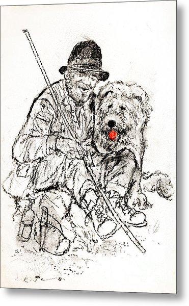 Shepherd With Dog Metal Print by Kurt Tessmann