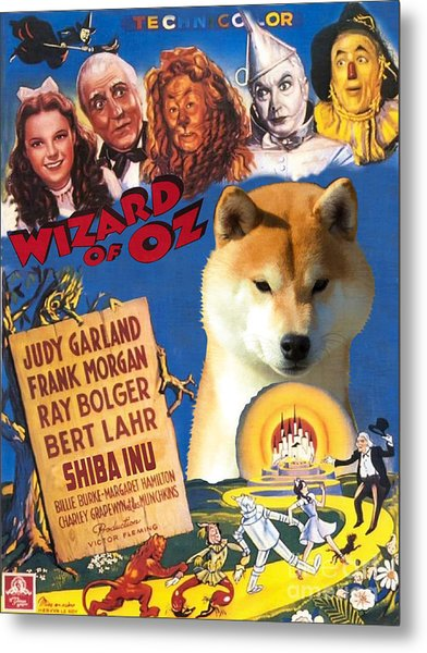 Shiba Inu Art Canvas Print - The Wizard Of Oz Movie Poster Metal Print