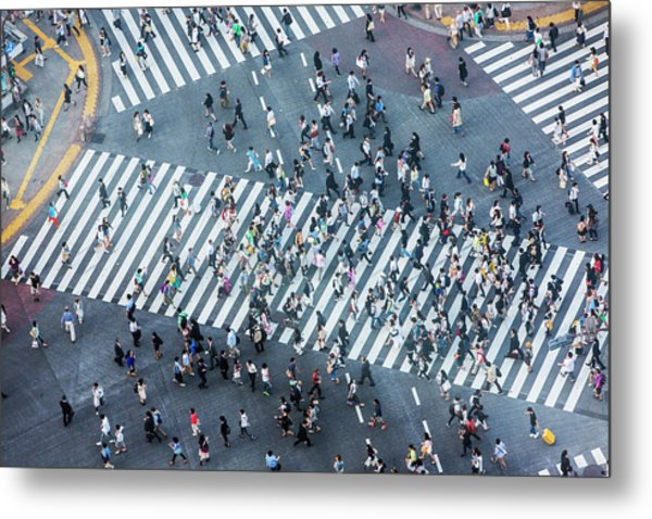 Shibuya Crossing Aerial Metal Print by Davidf