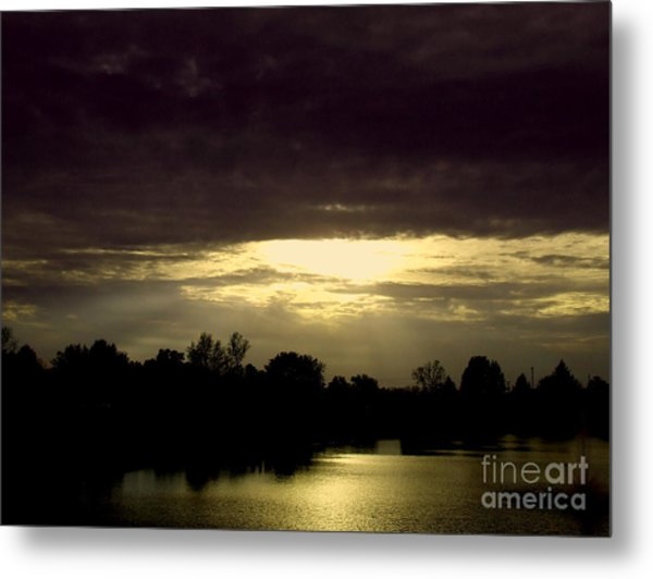 Shimmering Shadow Sunset Metal Print