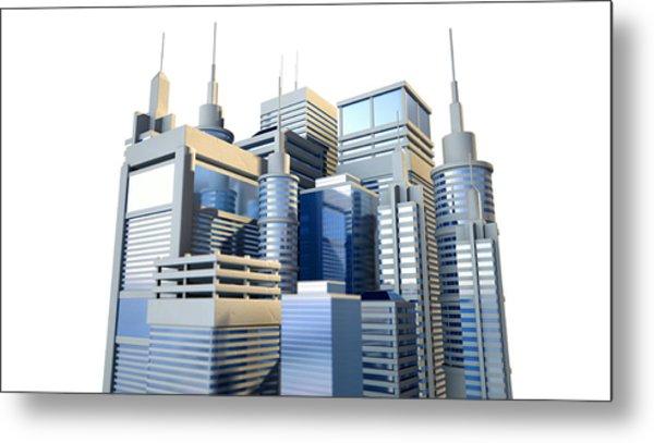 Shiny Modern City Cluster Metal Print