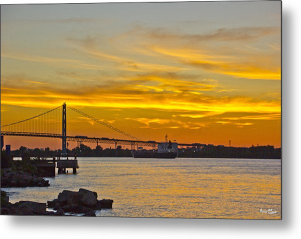 Ship Approaches Ambassador Bridge At Sunset Metal Print