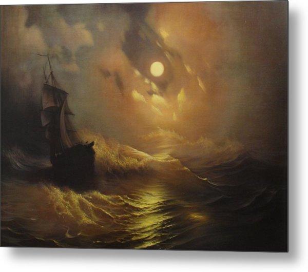 Ship At Sea Metal Print