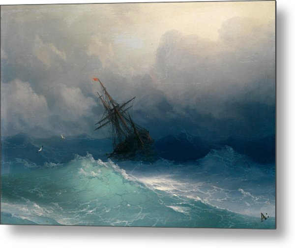 Ship On Stormy Seas Metal Print