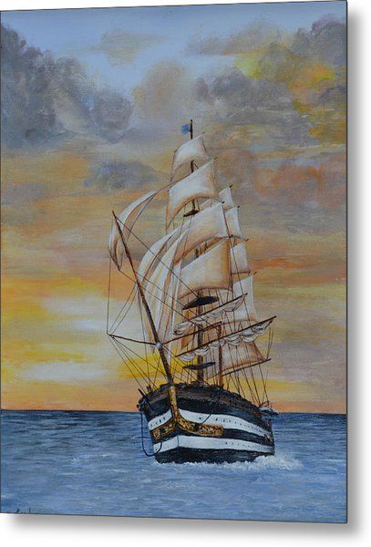 Ship On The High Seas Metal Print