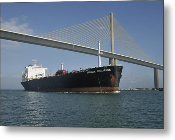 Ship Under Sunshine Skyway Bridge Metal Print