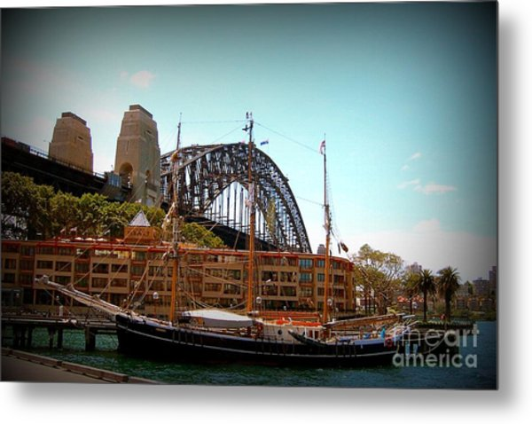 Ship Under Sydney Bridge Metal Print by John Potts