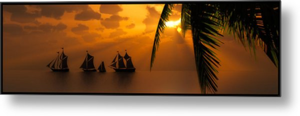 Ships And The Golden Dawn... Metal Print