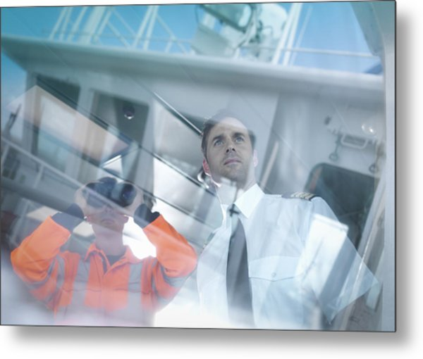 Ships Captain And Worker Seen Through Reflections On Container Ship Metal Print by Monty Rakusen