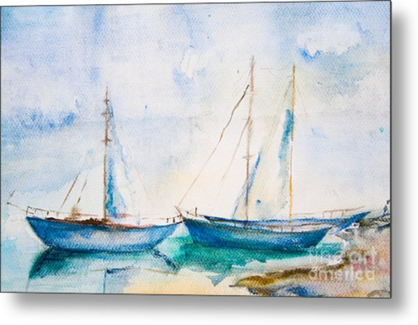 Ships In The Sea Metal Print