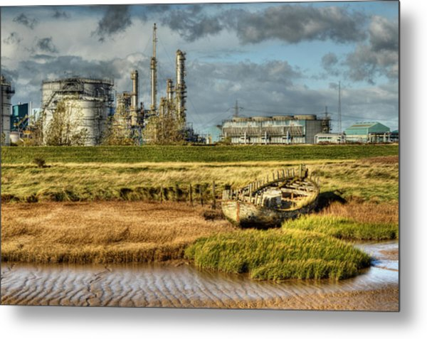 Shipwreck At Saltend Metal Print