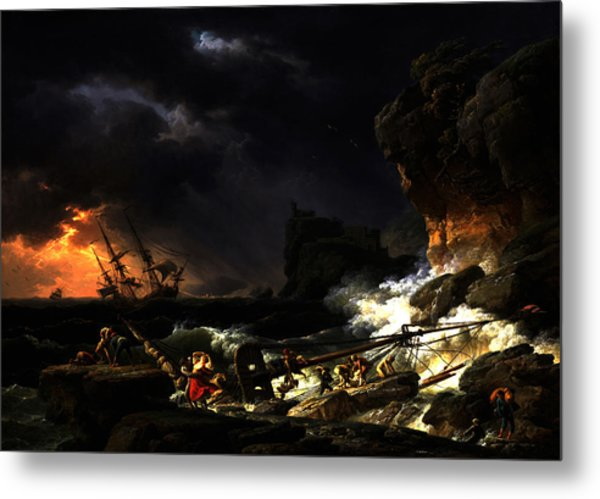 Shipwreck In A Thunderstorm Metal Print