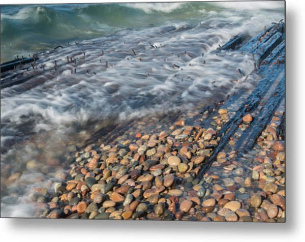 Shipwreck Waves Metal Print