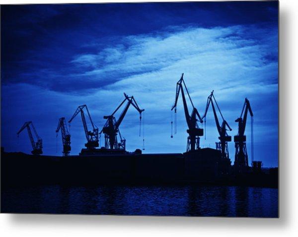 Shipyard Crane Metal Print
