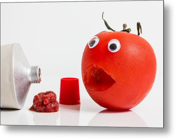 Shocked Tomato. Metal Print by Gary Gillette