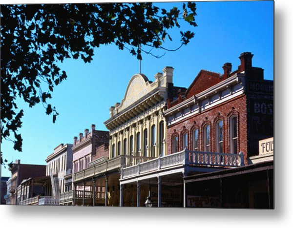 Shop Fronts In Old Sacramento - Metal Print