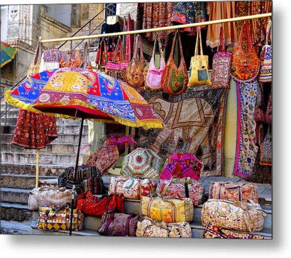 Shopping Colorful Bags Sale Jaipur Rajasthan India Metal Print