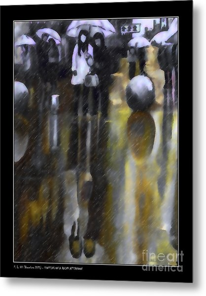 Shopping On A Rainy Afternoon Metal Print