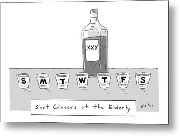 Shot Glasses Of The Elderly -- A Series Of Shot Metal Print