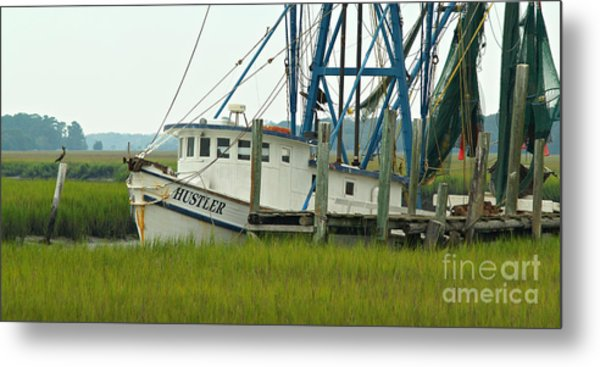 Shrimp Boat And Pelican - Lowlands Of South Carolina Metal Print