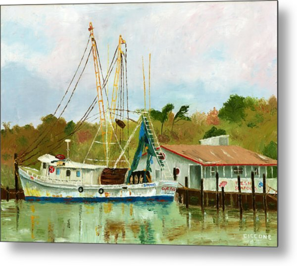 Shrimp Boat At Dock Metal Print