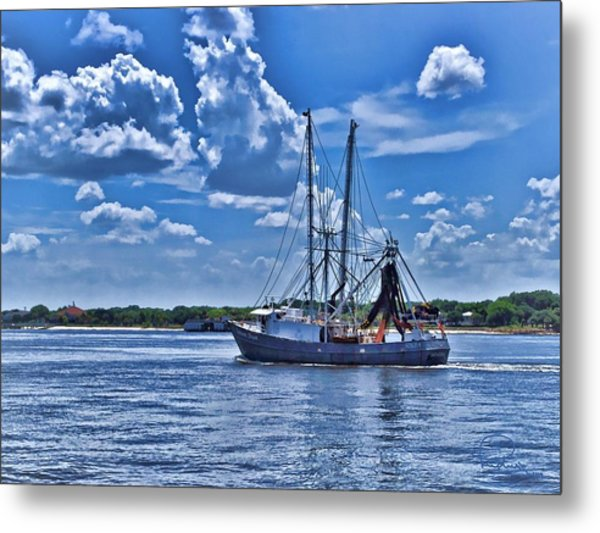 Shrimp Boat Heading To Sea Metal Print