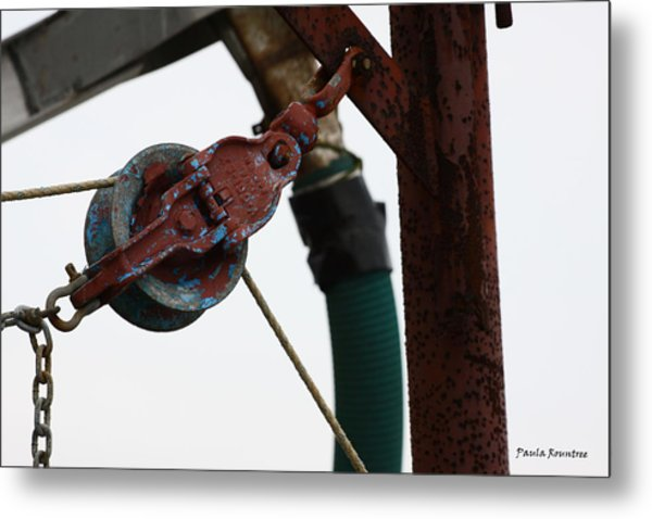 Shrimp Boat Pulley Metal Print by Paula Rountree Bischoff