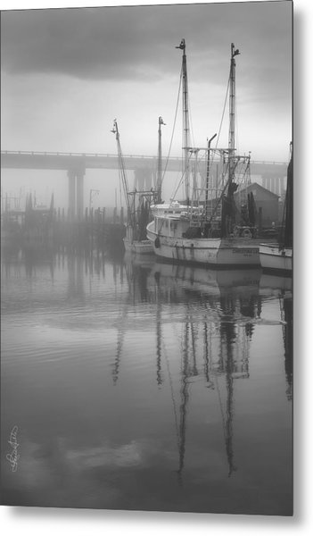 Shrimp Boats In The Fog - Black And White Metal Print