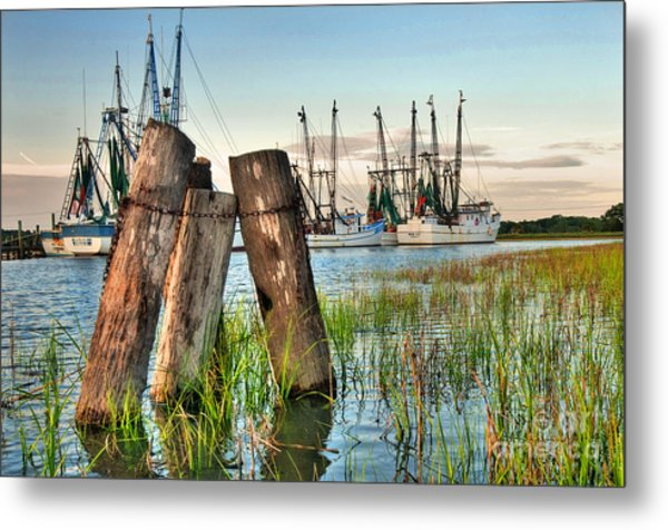 Shrimp Dock Pilings Metal Print