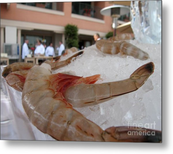 Shrimp On Ice Metal Print