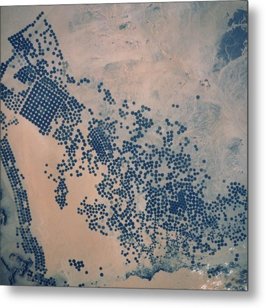 Shuttle Photograph Of Irrigation In Saudi Arabia Metal Print