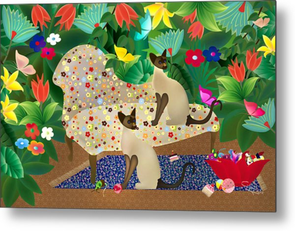 Siameses En Chaise Con Flores Limited Edition 2 Of 15 Metal Print