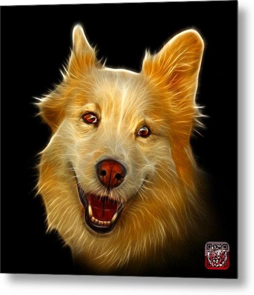 Metal Print featuring the painting Siberian Husky Mix Dog Pop Art - 5060 Bb by James Ahn