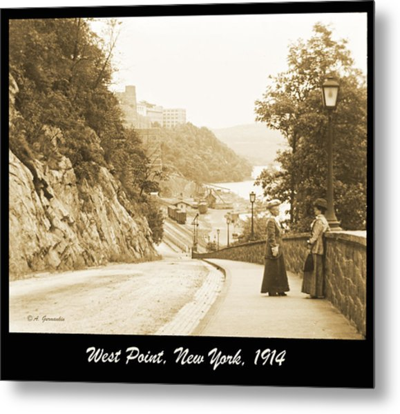 Sidewalk Conversation West Point New York 1914 Metal Print