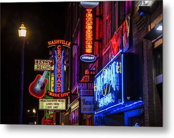 Signs Of Music Row Nashville Metal Print