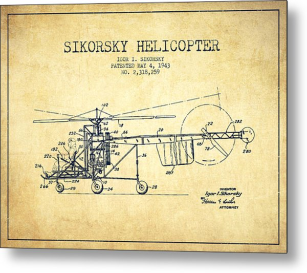Sikorsky Helicopter Patent Drawing From 1943-vintgae Metal Print