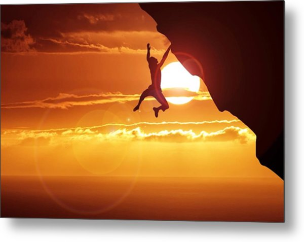 Silhouette Man Hanging On Cliff Against Metal Print