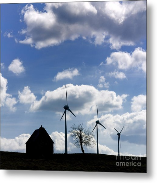 Silhouette Of A Farm And A Tree Metal Print