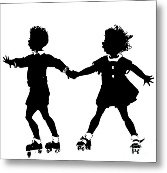 Silhouette Of Children Rollerskating Metal Print