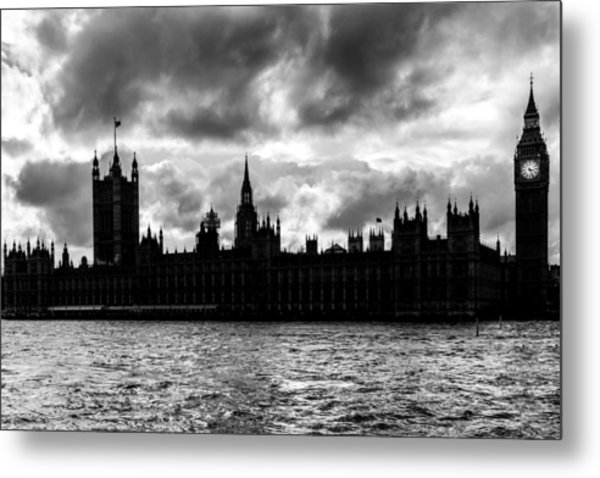 Silhouette Of  Palace Of Westminster And The Big Ben Metal Print