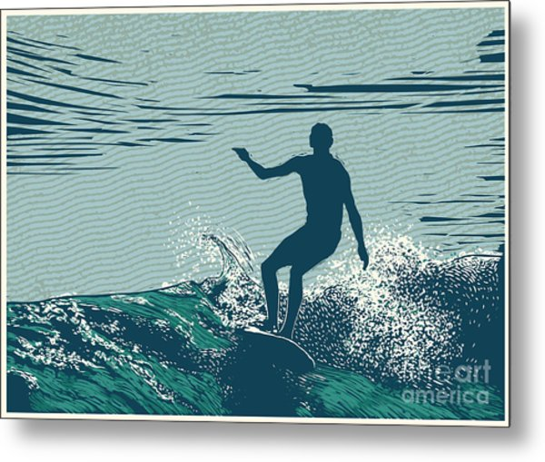 Silhouette Surfer And Big Wave Metal Print