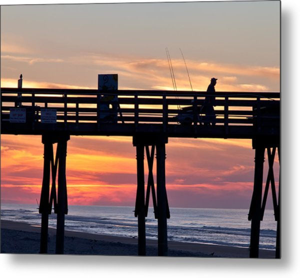 Silhouetted Fisherman On Ocean Pier At Sunrise Metal Print