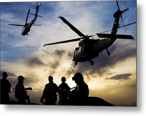 Silhouettes Of Soldiers During Military Mission At Dusk Metal Print by Guvendemir