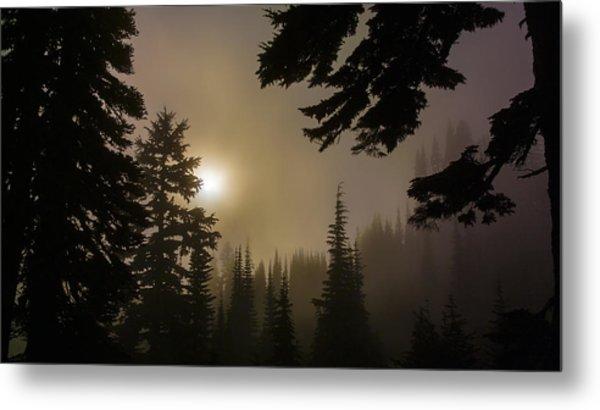 Silhouettes Of Trees On Mt Rainier II Metal Print