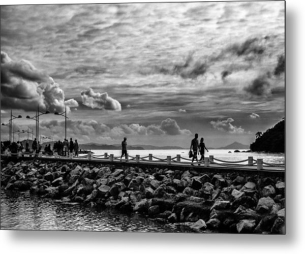 Silhouettes On The Jetty Metal Print